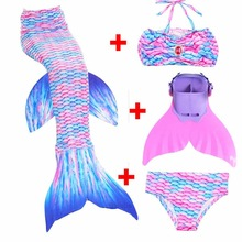 2018 4PCS Children Mermaid Tail with Monofin Kids Girls Costumes Swimming Mermaid Tail Mermaid Fancy Swimmable Swimsuit Age 3-12