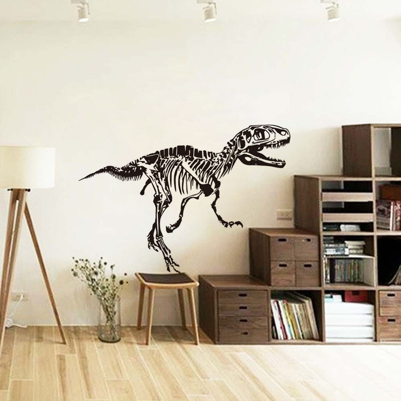 Image 2 - Dinosaur Wall Sticker Dino Skeleton Wild Animal Fossil Mural Room Design Pattern Boy Bedroom Kids Rooms Animals Removable Decals-in Wall Stickers from Home & Garden