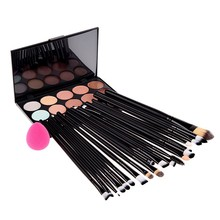 15 Color Concealer Palette + Eye Make-up Brushes + Teardrop-shaped puff Makeup Contour Palette Paleta De Corretivo Facial ST1#
