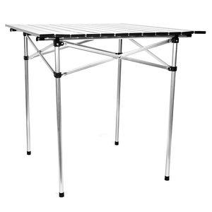 Image 2 - 옥외 야영 테이블 4 6 사람들을위한 알루미늄 접히는 BBQ 테이블 조정 가능한 테이블 휴대용 경량 간단한 비 방수 책상