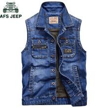 57563917b30ee0 AFS JEEP Marke Military Denim Weste Männer Im Freien Baumwolle Multi Tasche  Sleevless Jean Jacke Plus