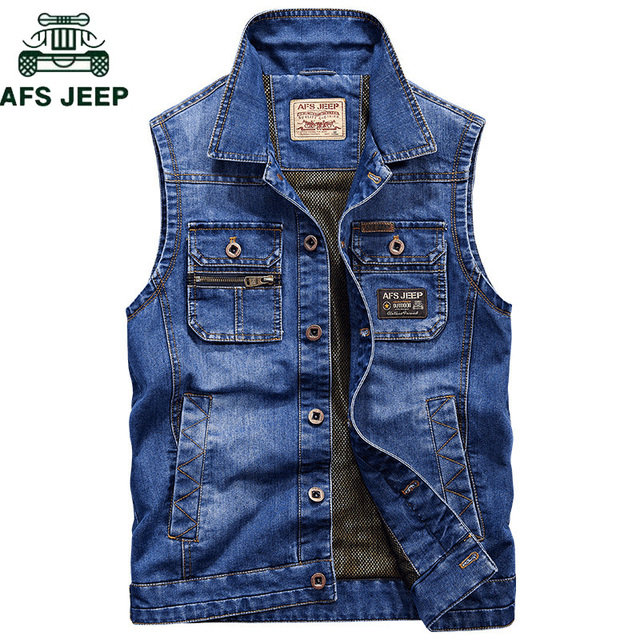 bcfcf41a726 AFS JEEP Brand Military Denim Vest Men Outdoors Cotton Multi Pocket  Sleevless Jean Jacket Plus Size