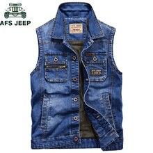 AFS JEEP Brand Military Denim Vest Men Outdoors Cotton Multi Pocket Sleevless Jean Jacket Plus Size 4XL Tactical Waistcoat Coat