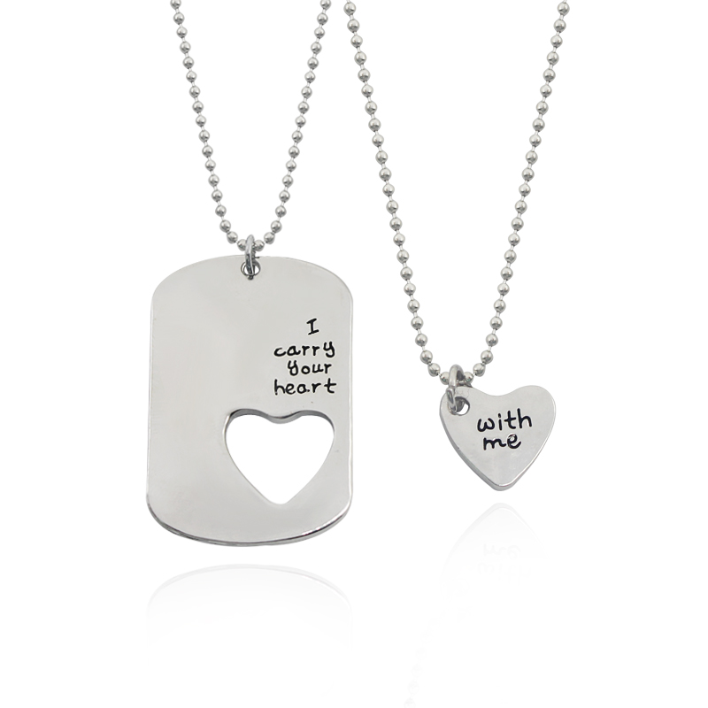 Мода пары Ожерелья надписи сердце Hollow Шарм Подвеска Цепочки И Ожерелья Любовь Набор я несу твое сердце со мной бисера Цепи