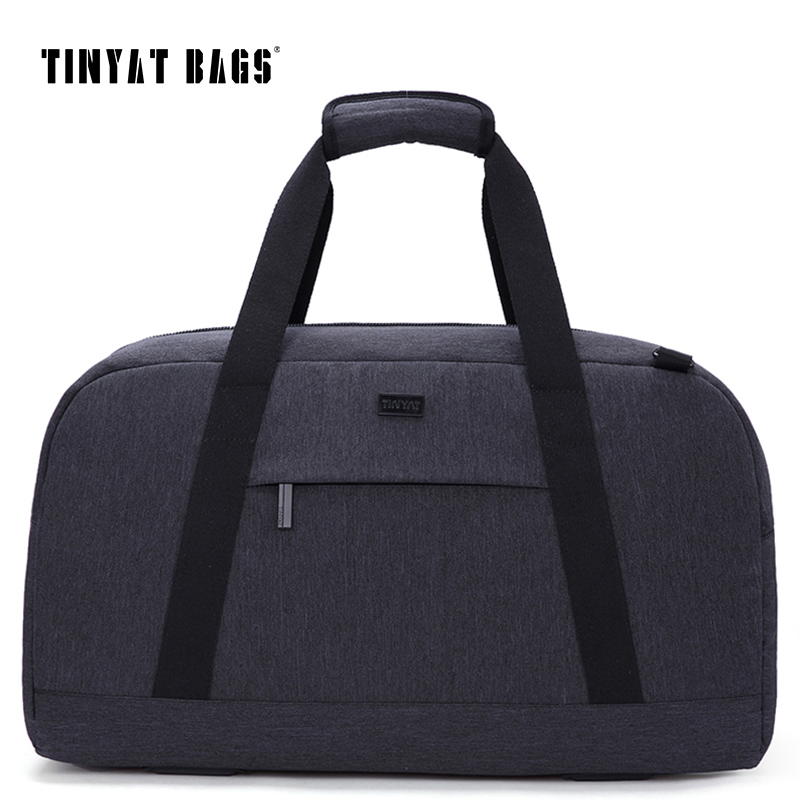 TINYAT New Spring Men Travelling Bag 40L Luggage Travel Bag Shoulder Duffle Bag Women Gray Nylon