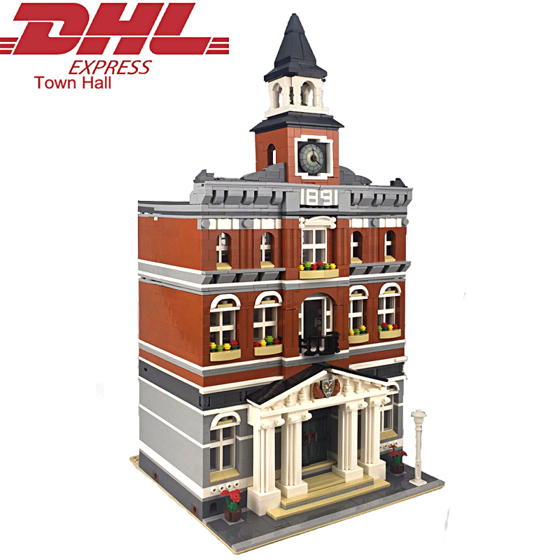 2017 New 2861Pcs City Street Town Hall Model Building Kits Blocks Bricks Toy For Children Figures Gift Set Compatible With 10224 10646 160pcs city figures fishing boat model building kits blocks diy bricks toys for children gift compatible 60147