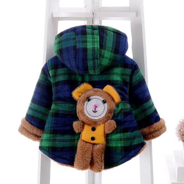 ROMIRUS Inverno Crianças Roupas Outerwear Masculino Criança Do Sexo Feminino Amassado Casaco Urso Bebê Meninos Da Menina do Algodão-Acolchoado Espessamento Jaqueta