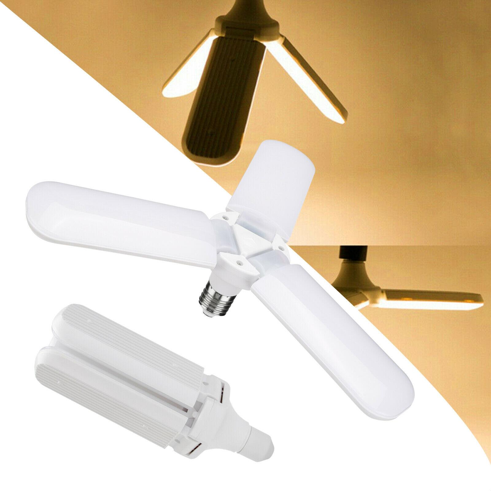 45W E27 da Pá do Ventilador Do DIODO EMISSOR de Luz Lâmpada LED Dobrável Lâmpada Garagem AC85-265V Ajustável Iluminação de teto branco Quente/Frio branco
