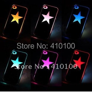 LED Star 1PCS Colorful Stars Change logo Sense Flash LED light Cover Case for Apple iPhone 4 4S 4G Styles
