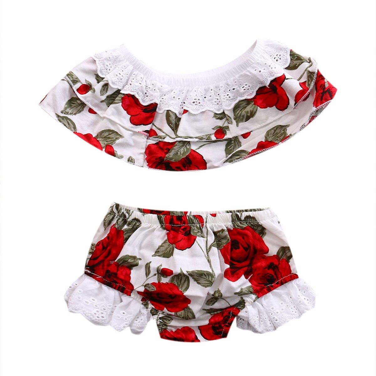 0-6y Sommer Kleinkind Kinder Baby Mädchen Off Schulter Spitze Blume Crop Tops Shorts Hose Pumphose 2 Pcs Outfits Mädchen Kleidung Set