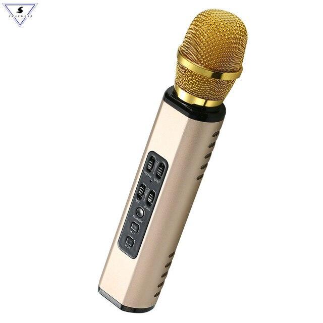 Профессиональный Портативный беспроводной Bluetooth микрофон для караоке, двойной динамик с динамическим микрофоном для любителей музыки, записи пения