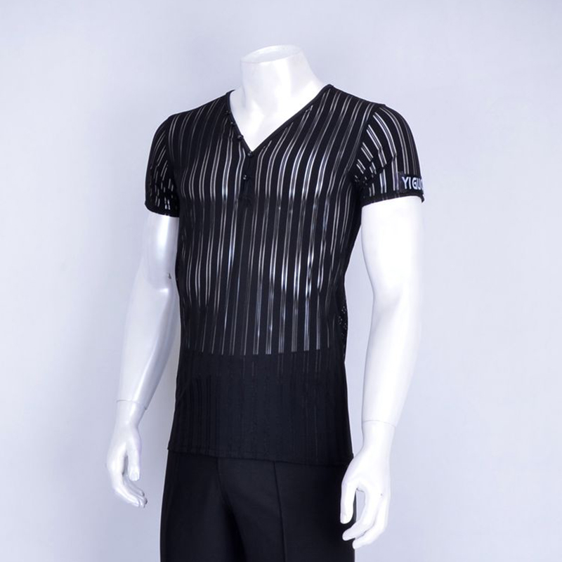 2018 New Latin Dance Tops Men V-Neck Transparent Stripe Short Sleeve Costume Dance Latine For Women Cha cha/Rumba Costumes