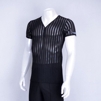 2017 New Latin Dance Tops Men V Neck Transparent Stripe Short Sleeve Costume Dance Latine For