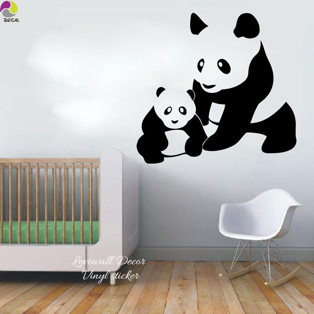 9 51 10 De Reduction Dessin Anime Maman Et Bebe Panda Mur Autocollant Bebe Pepiniere Enfants Chambre Famille Panda Animal Mur Sticker Salle De Jeux