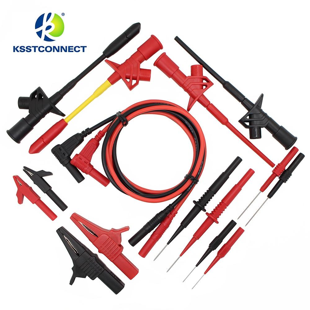 DMM08B 8 Pares/juegos Juego De Cables De Prueba De Especificaciones Electrónicas Kit De Sonda De Prueba Automotriz Kit De Cables De Sonda Multímetro Universal