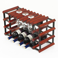 Commercial Bar Pure Wood Grape Wine Rack Hanging Inverted Goblet Glass Shelf Red Wine Holders Household Wine Display Cabinet