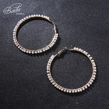 Badu Big Round Hoop Earring Crystal Crochet Punk Statement Party Earrings for Women Fashion Jewelry Gift Christmas Wholesale