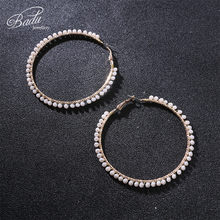 Badu Big Round Hoop Earring Crystal Crochet Punk Statement Party Earrings  for Women Fashion Jewelry Gift Christmas Wholesale e9212c10487c