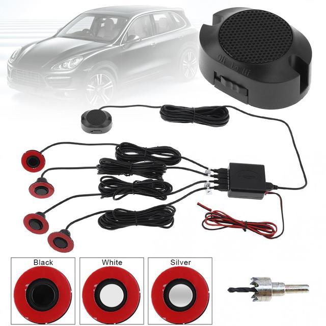 4 Parking Sensors 16.5mm 12V Car Original Flat Parking Sensor Car Video Parking Sensor Reverse Backup Radar Sound Buzzer Alarm