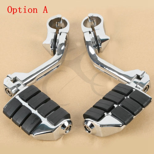 """Motorcycle Universal Adjustable Highway Foot Pegs Footrest  Pedals 1 1/4"""" 32mm  Engine Guard Mounts Clamps For Harley Honda"""