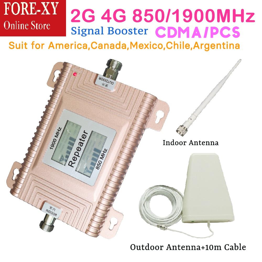 LCD Displays CDMA 850 PCS 1900 directional signal booster 2G 3G 4G amplifier cdma smart booster