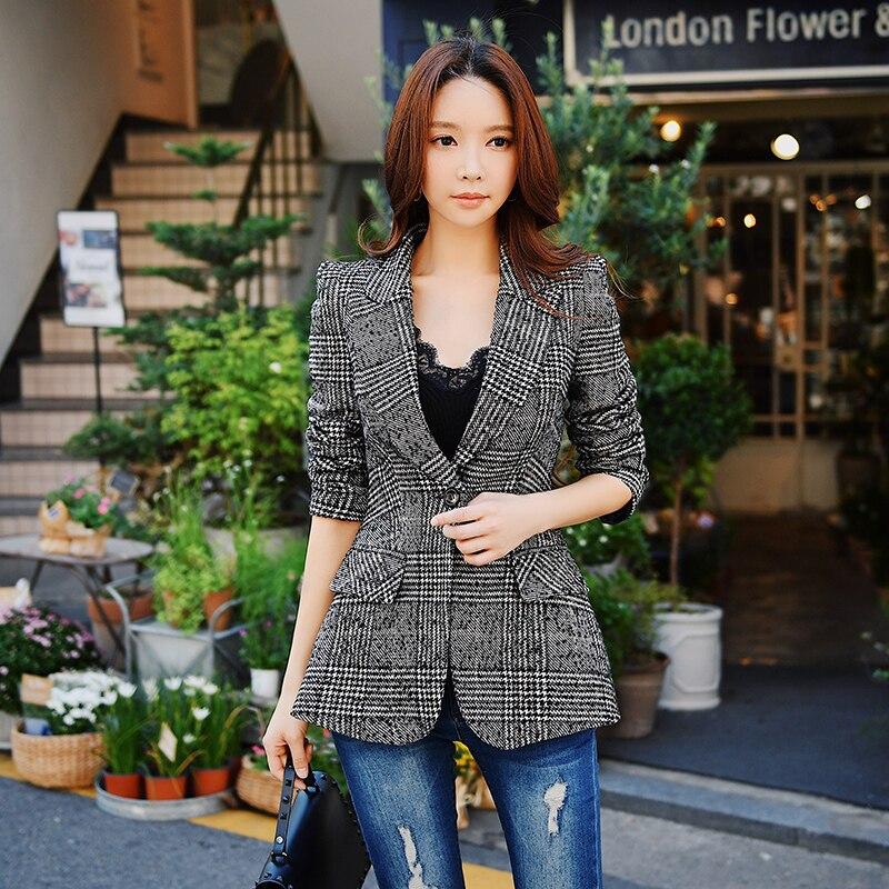 Dabuwawa New Women Ladies Vintage Checked Blazer Suits Grey Slim Fit Notched Collar Plaid Formal Jacket