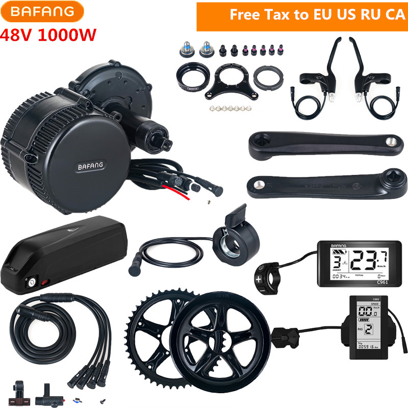 48V 1000W Bafang 8fun BBSHD BBS03 Mid Drive Motor Conversion Kits C961 C965 With 48V 17AH Lithium Electric Bicycle Ebike Battery