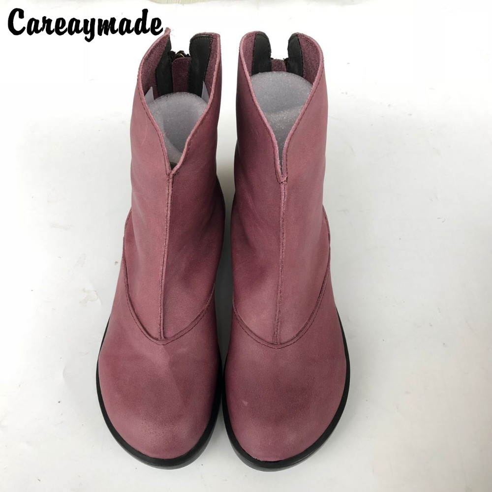 Careaymade-New 2018 Hot Sale Top layer Genuine Leather pure handmade comfortable boots, the retro art mori girl boots,3 colors