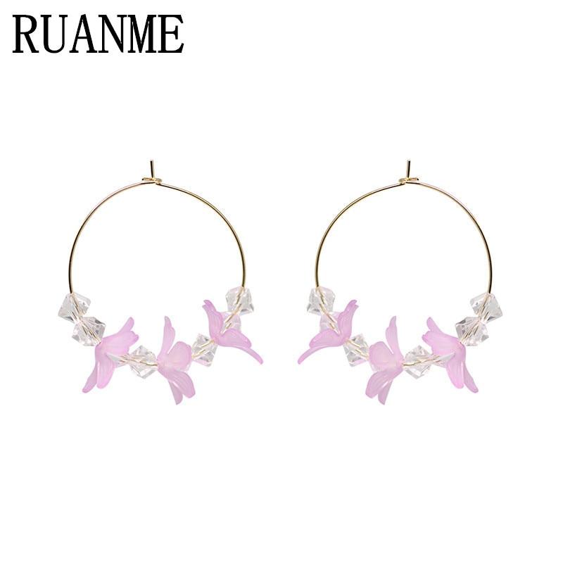 Super sweet fairy temperament frosted acrylic petals earrings ears ring fairy joker colourful glass bead earrings female