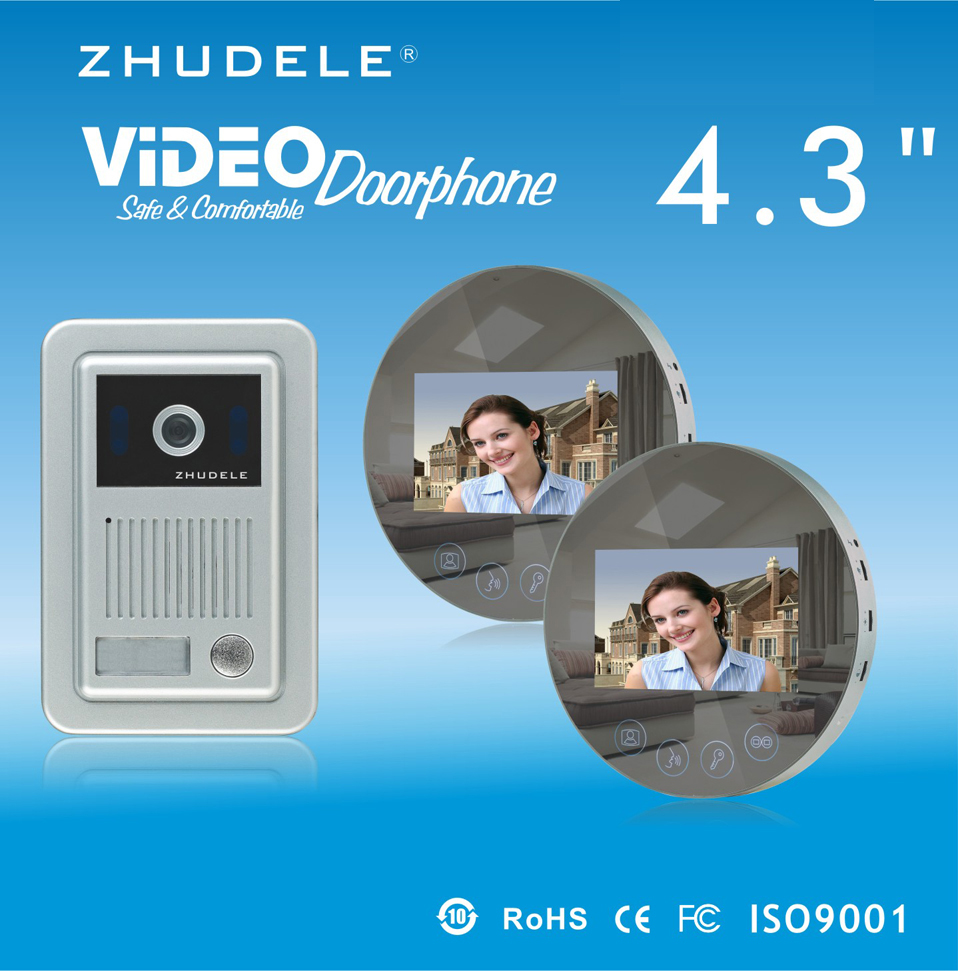 ZHUDELE Home Security Speakerphone intercom 4.3LCD monitor Color Video Door Phone doorbell HD CCD Peephole Camera w/t Cover 1V2