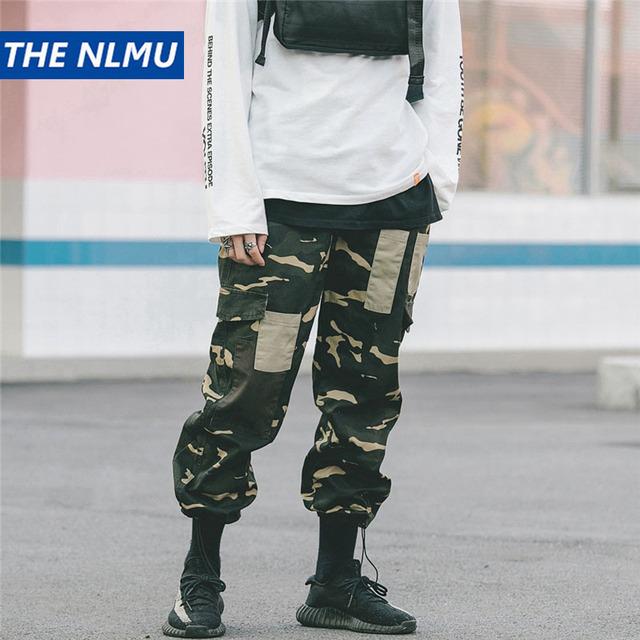 Pants Men Hip Hop Multi-Pockets Streetwear Jogger Elastic Waist Lace Sweatpant Quality Plus Size 2XL Cotton Track Trousers Q0194