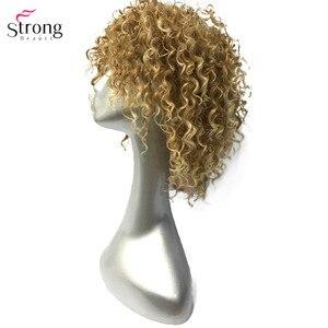 Image 2 - StrongBeauty frauen Perücken Kurze Lockige Haar Synthetische Volle Perücke Gelb Farbe molding , der Mann Perücke