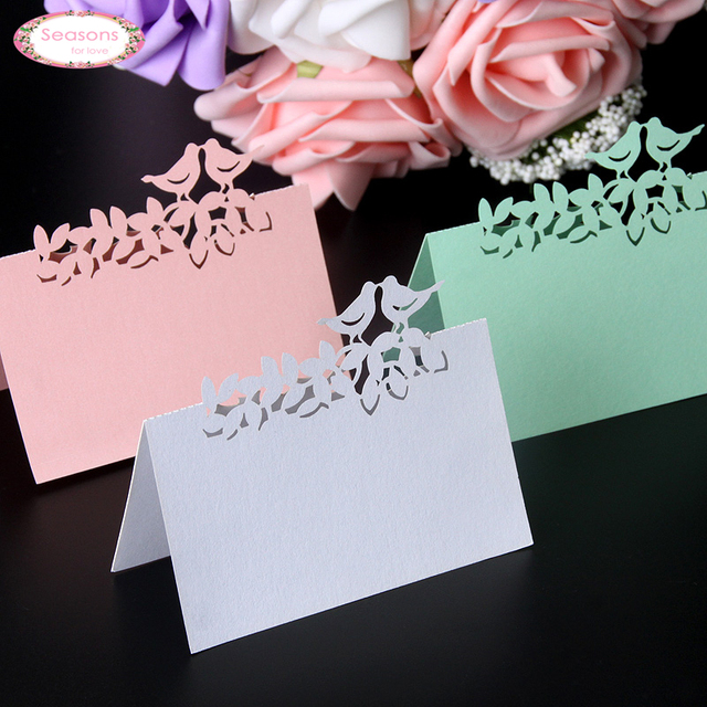 40pcs/lot Love Birds Laser Cut Wedding Favors Party Supplies Table Name Place Cards Table Wedding Cards Wedding Decoration