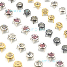 50pcs/lot 6mm Round A Grade Rhinestone Crystal Studs Spot Spikes Rivets Punk Leather Craft Bag