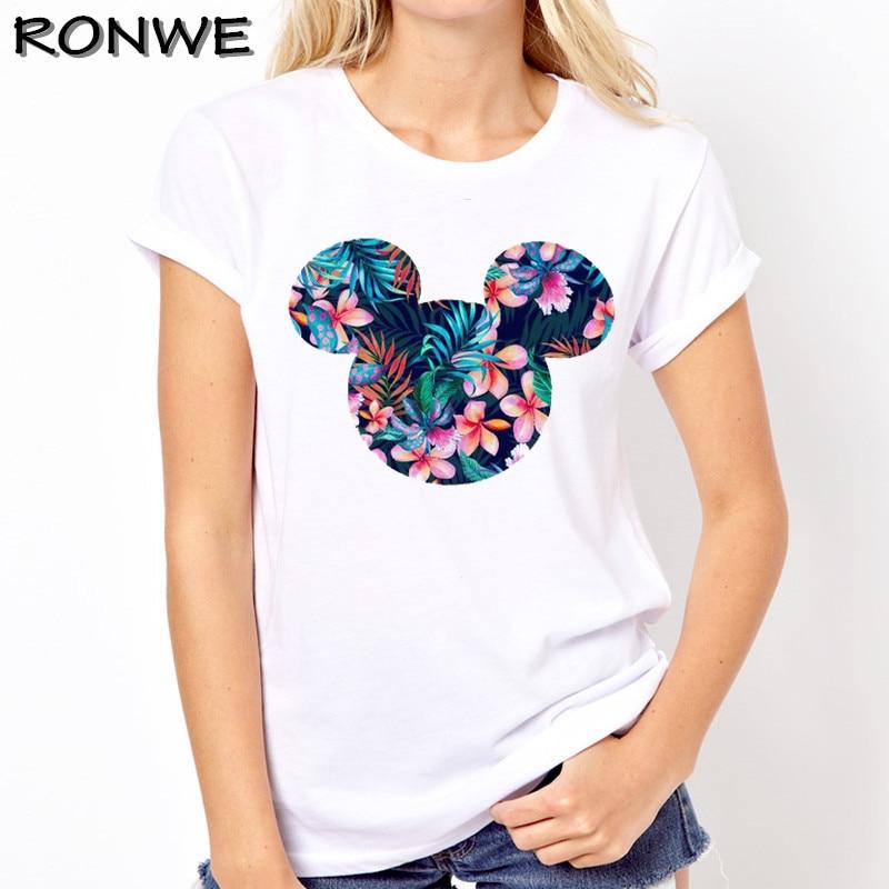 Женская одежда 2019 футболка Femme Harajuku футболка Цветы Микки Графический футболки уличная топы корейский Kawaii Camiseta Mujer
