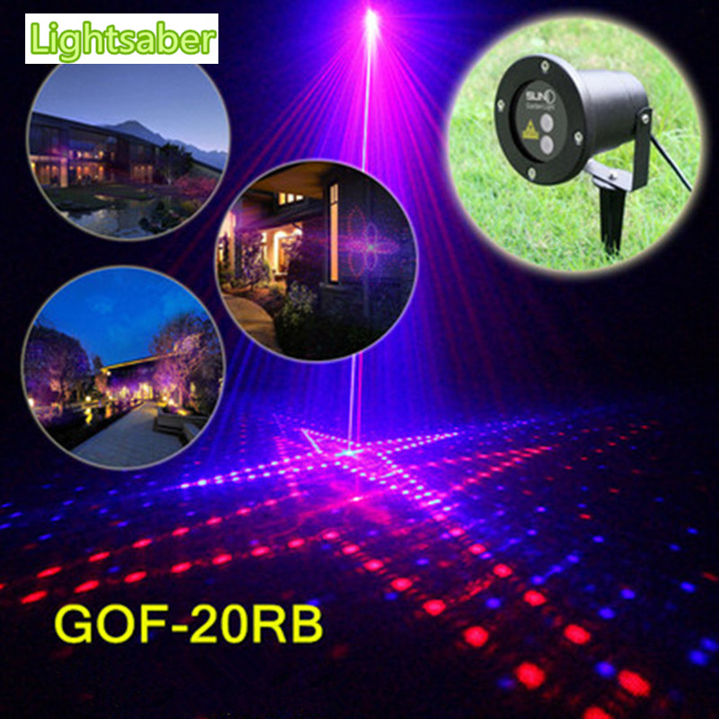 Outdoor Waterproof Lawn Lamp 20 Patterns Red and Blue Laser + Remote Control Garden Landscape Lamp Christmas Laser Lamp цена и фото