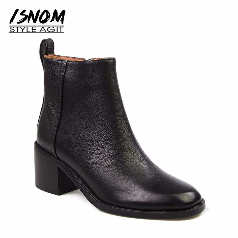 ISNOM Women's Genuine Leather Shoes <font><b>Heels</b></font> <font><b>Block</b></font> Women Zip <font><b>Ankle</b></font> <font><b>Boots</b></font> Soft Rubber <font><b>Boots</b></font> Winter Female Chelsea <font><b>Boots</b></font> Fashion 2020 image
