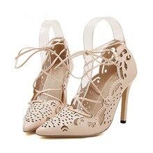 Femmes Pompes 2015 Sexy Inférieures Rouges de Hauts Talons Femmes Chaussures Dentelle Up Chaussures Femme Découpes Chaussures De Mariage Blanc Gladiateur Sandales Femmes