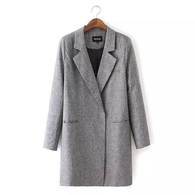 women coats 2015 autumn winter fashion Gray elegant office lapel ...