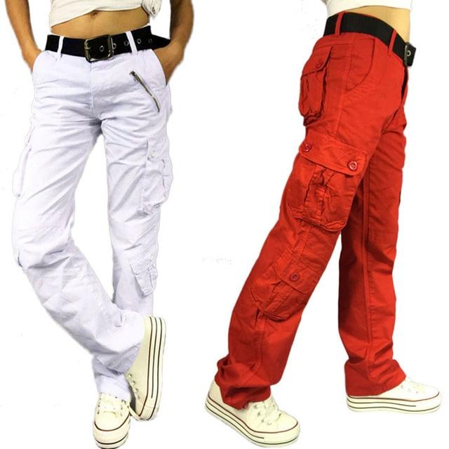 54ccb092daf4 Grande Taille Femmes Pantalon Cargo Femmes Hip-Hop Tactique Pantalon multi- poches Coton Lâche