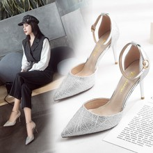 Liren 2019 Summer Fashion Diamond Style Lady Sandals High Thin Heels Pointed Wrapped Toe Silver Buckle Size 34-39