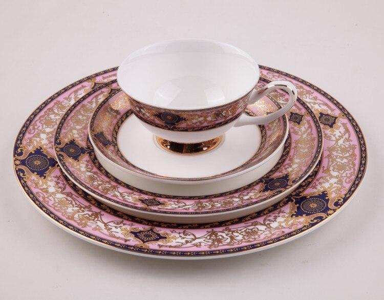 Service de table en porcelaine céramique | Quatre pièces avec assiettes et café assiette de Service, assiette à Dessert, ustensiles de régime
