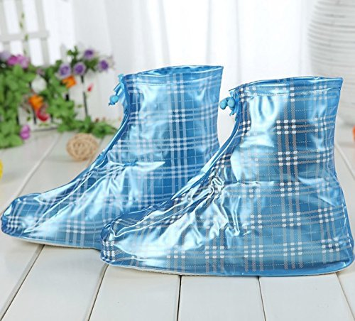 Fashion Blue Plaid Zippered Thicken Rainproof Nonslip Wear-resistant Reusable Flat Rain Shoes Covers