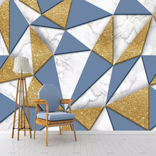 Modern 3D Simple Geometric Triangle Marble Mosaic Wallpaper Mural Sticker for Living Room TV Background Painting 3D Wall Cloth(China)