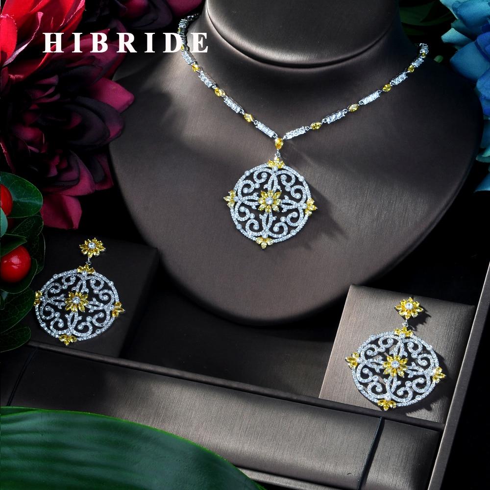 HIBRIDE Luxury Women Jewels Elegant Shape Bridal CZ necklace earrings Big Wedding Jewelry Sets For Bride