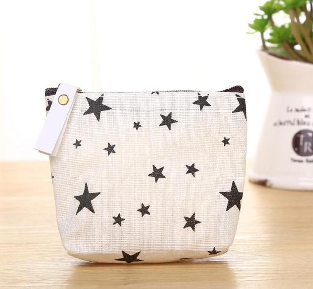 M150 2017 Canvas Women Coin Purses Simple Creative Nordic Style Dot Small Tree Star Sign Small Change Wallet Wholesale