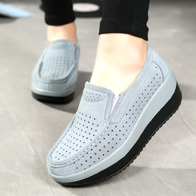 2019 Spring Women Flat Platform Loafers Shoes Ladies   Suede     Leather   Hollow Casual Shoes Slip on Flats Moccasins Creepers