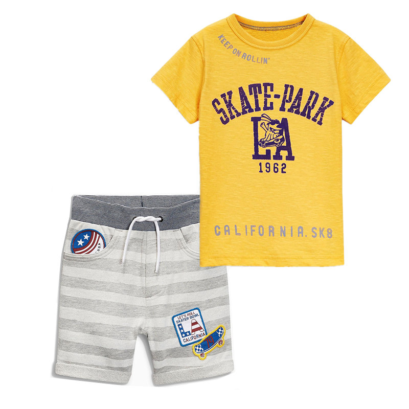 JTS328, skate park, 6sets/lot, summer children boys clothing sets, short sleeve t shirt + shorts for 1-6 year, 100% cotton