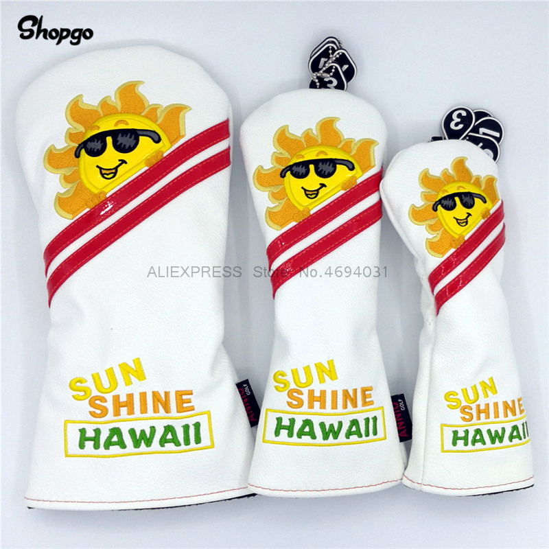New PU Golf Smiling Sun Headcovers Golf Driver Fairway Woods Hybrid Covers 135ut Complete Set 2 Colors Mascot Novelty Gift