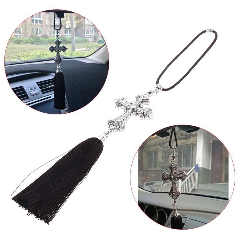 Metal And Crystal Diamond Cross Jesus Christian Car Rear View Mirror Car Pendant